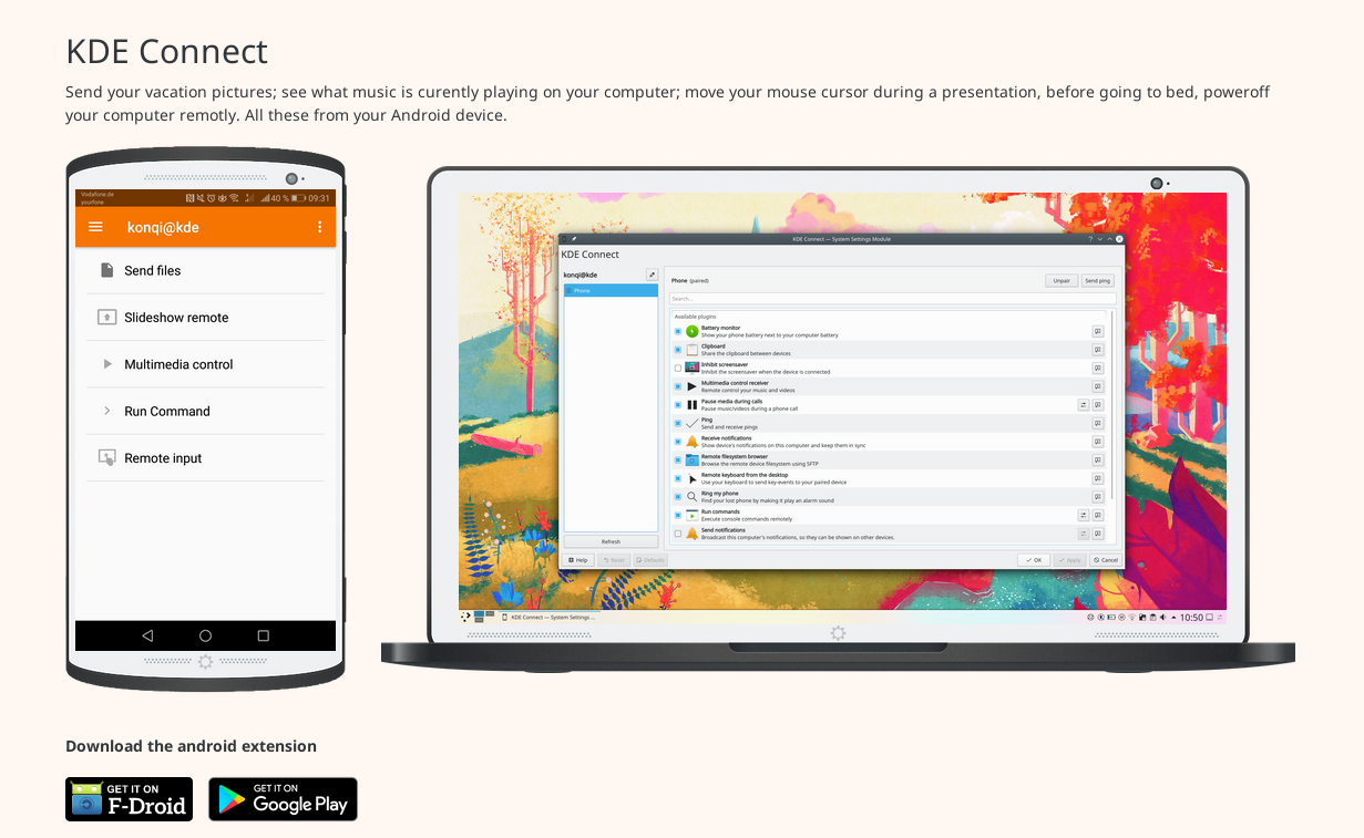 KDE connect promotional page. Showing in the left android with KDE Connect and in the right plasma with KDE Connect